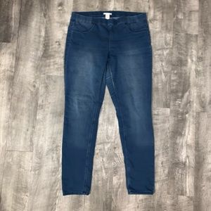 H&M STRETCH JEGGINGS IN MED WASH DISTRESS SIZE 12